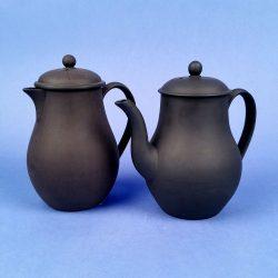 WEDGWOOD Black Basalt Vintage Chocolate Coffee Pot and Milk Jug