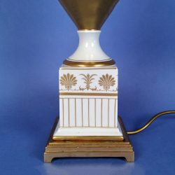 Mangani Grecian Urn Table Lamp White Porcelain with Gold Decoration
