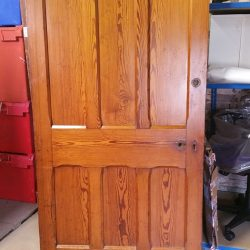 Large Victorian Pitch Pine 6 Panel Vertical Gothic Door