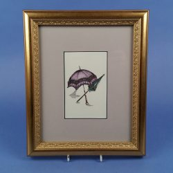 Gilt Framed Print of Victorian Parasols Lilac and Green