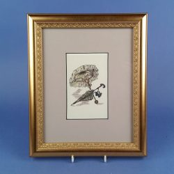 Gilt Framed Print of Victorian Parasols Primrose and Green Tartan