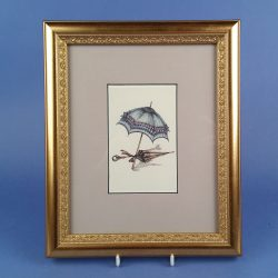 Gilt Framed Print of Victorian Parasols Soft Aqua and Gold