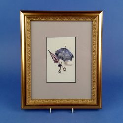 Gilt Framed Print of Victorian Parasols Pansey Blue and Rose